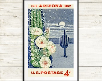 arizona poster, arizona state, university arizona, arizona wall art, tucson arizona, arizona cardinals, arizona wildcats, arizona desert art