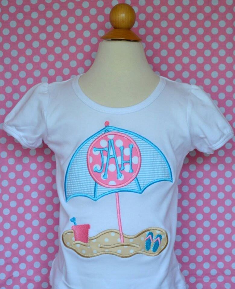 8ca7218673a5 Personalized Beach Umbrella Sand Bucket Flip Flops Applique Shirt or  Bodysuit Girl