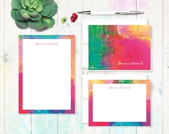 complete personalized stationery set - ABSTRACT ART 4 - letter writing set - note cards - notepad - colorful stationary