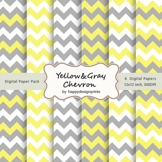 Yellow Gray Chevron Pattern Wallpaper Digital Paper Pack Of 6 300 Dpi 12x12 Instant Download Scrapbooking JPG From Happydesignprints On Etsy Studio