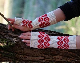 Woolen Wrist / Arm Warmers, Traditional Ancient Viking Age Fair Isle Fingerless Gloves, Christmas Gift, Unique Gift, Card Weaving, EWR