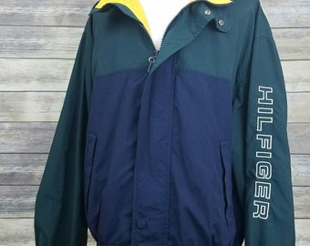 Tommy Hilfiger Vintage 90s TOMMY JEANS Sailing Color Block Spell Out Windbreaker Jacket | Adult Size XXL | Rare Hip Hop Clothing