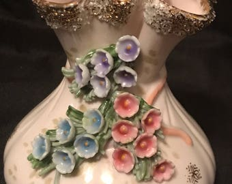 Vintage Porcelain Lefton Fancy Vintage Vase Boudoir Flowered Cottage Chic Victorian Money Bags