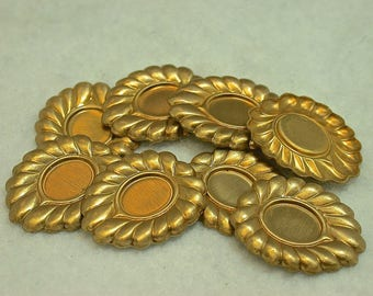 Vintage Raw Brass Metal Oval Stamping Findings for 10x8 Cabochons 23x19mm pkg2 m122