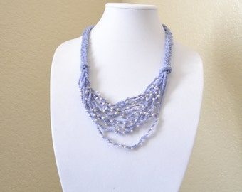 Lilac & pearls crochet statement necklace
