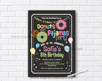 Donuts and pajamas, Donuts party, Donuts birthday, pajamas birthday, girl birthday, pajama party, sleepover party, slumber party, card 947