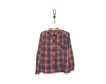 1980s Vintage Plaid Blouse