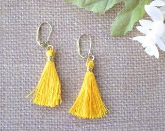 Silk Tassel Earrings, Yellow