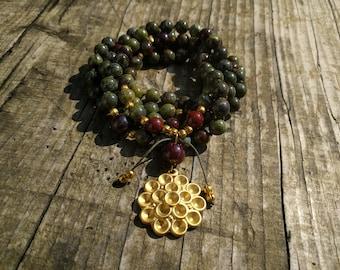 Bloodstone Jewelry Dragoon Bloodstone Necklace 108 Mala Necklace Mala 108 Beads Mala Beads 108 Mantra Mala Prayer Beads Japa Mala Meditation