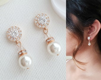 Bridal Drop Earrings Pearl Wedding Earrings Rose Gold Crystal Bridesmaid Earrings Simple Pearl Earrings Bridal Bridesmaid Jewelry, Bronte