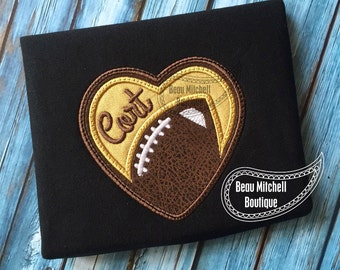 Football heart with triple bean top stitch