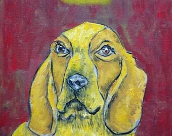 25% off basset hound dog angel signed art print animals impressionism gift new modern abstract