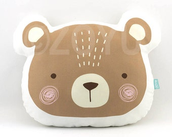 Bear Pillow Bear Plush Pillow Bear Cushion Bear Pillow Baby Nursery Decor Throw Pillow Kids Room Decor Bear Pillow Nursery Decorative Pillow
