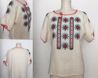 Vintage Hand Embroidered Ethnic Print Tunic Top