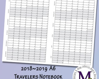 A6 Travelers Notebook Size Academic year 2018-2019  Fold Out, Year at a Glance