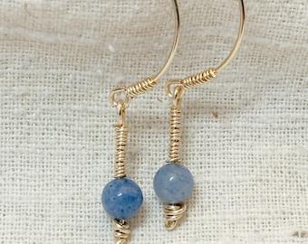 Roman jewelry, hoop earrings, roman earrings, reproduction jewelry, ancient jewelry, museum jewelry, blue earrings, gold hoops
