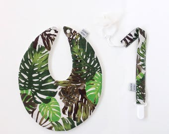 Tropical set of bib + pacifier clip