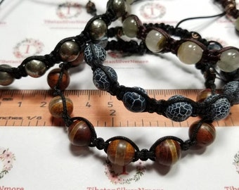 1 piece 7.5 - 8 inches Shambala Macrame clasp Bracelet hand made 10mm Semi Precious stones in stones to choose.