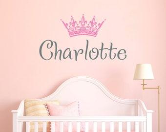 Wall Decal Name Crown Girls Name. Little Princess Tiara Girl Wall Vinyl Sticker Nursery Personalized Name. Nursery Wall Decor Baby Girl F97