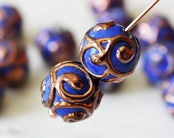Handmade Glass Beads - Czech Lampwork Beads - Czech Glass Beads - Jewelry Making Supply - 10mm Round - Opaque Blue - Choose Amount