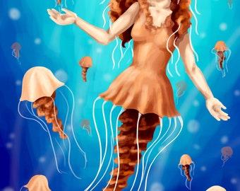 Jellyfish Mermaid - Digital Painting Print