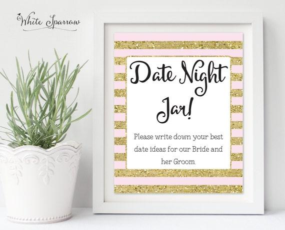 Wedding Date Gift Ideas: Date Night Jar Sign Gold Bridal Shower Sign. Bridal Shower