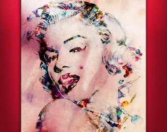 "MARILYN MONROE FRAMED 30""x 20"" Original Art Canvas Print Limited Edition this 20/5000 Wall home decor Celebrity (Included framed 1.5"" depth)"