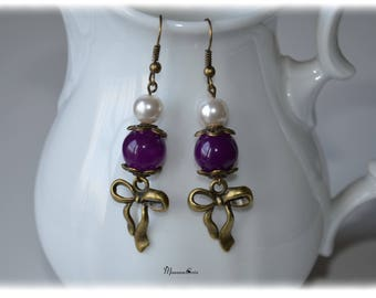 Earrings bronze and purple bow