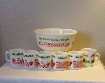 Hazel Atlas Christmas Tom & Jerry Auld Lang Syne Milk Glass Set, 1 Bowl , 6 Mugs, Punch Bowl Set. Eggnog Bowl Set, Party Bowl Set, Bar Ware.