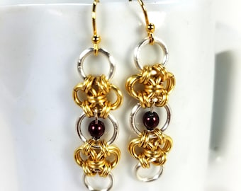 Gold and Purple Chainmaille  Earring