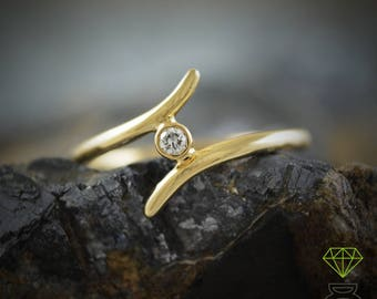 Gold Ring, Diamond Ring, 18k Gold Solitaire, Engagement Ring, Midi Ring, Gift for her, Handmade ring