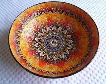 """Yellow Ceramic  Bowl, 10"""" Bowl, Turkish ceramic, Serving Bowl, amber black and red bowl, fruit bowl, salad bowl,  display bowl, wedding gift"""