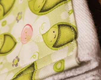 Burp Cloth - Green Peas in a Pod with Flowers and Buttons Accent Fabric on a White Cloth Diaper