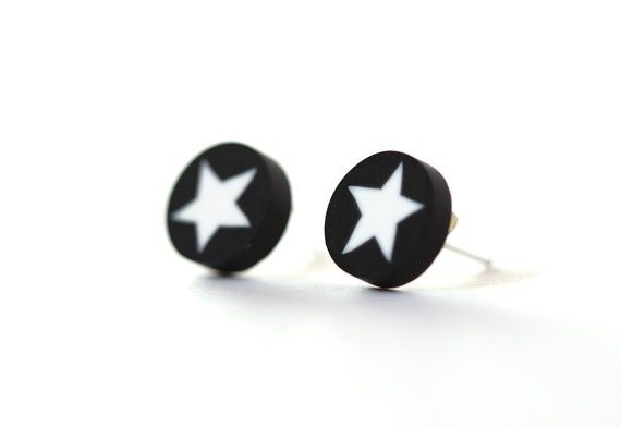 Star studs - minimalist round post earrings - black and white - stud earrings - polymer clay and surgical stainless steel