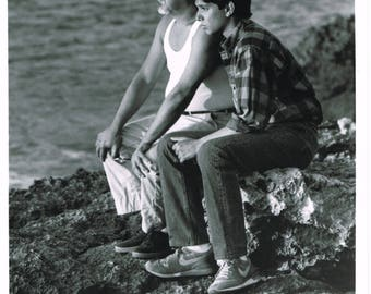The Karate Kid Part II - 1985 - US B&W publicity still - Pat Morita and Ralph Macchio