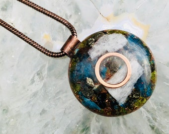 Orgonite® Orgone Pendant (Large) - Peridot/Amazonite/Blue Apatite/Pyrite - FREE WORLDWIDE SHIPPING!