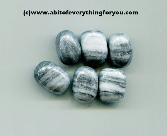 dark gray marble large gemstone beads, loose beads, natural stone beads, 12mm x 15mm 6 piece,  for jewelry making