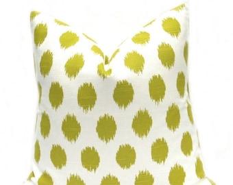 15% Off Sale Green Pillow Cover - Throw Pillow - Ikat Pillow Cover, Green Pillows Lime Green Pillows ,Pillow sham ,Pillows ,Pantone - Polka