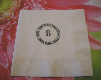 50 Monogram PAPER NAPKINS Personalized Paper Napkins Wedding Party Decorations Wedding Cake Table Wedding Shower Bride and Groom Initials
