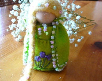 Lady Spring Peg Doll, Waldorf Wooden Peg Doll, Handmade Miniature