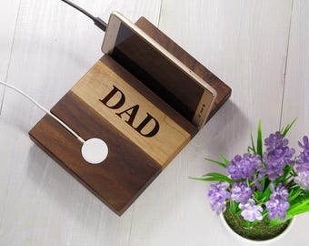 Fathers Day Gift for Dad from Daughter, Anniversary Gifts, Personalized Apple Watch and iPhone Charger, Walnut Wood Handmade Docking Station