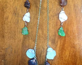 Bering Sea Glass Earrings and Necklace