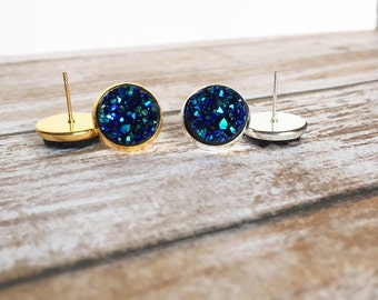 Night Blue Chunky Sparkle Druzy Stud Earrings - Blue Earrings - Sparkly Earrings - Druzy Jewelry - Bling Earrings - Big Studs - Gift For Her