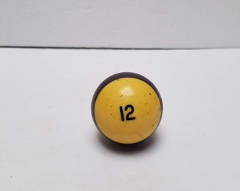 Vintage Pool Ball Billiard Table 2-1/4 Inches Purple Stripe Number # 12 Replacement Decor