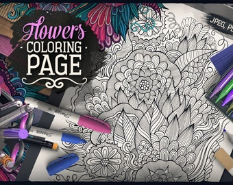 FLORAL Digital Coloring Page, Adult Coloring, Flowers Doodles Art, Printable, Coloring sheet, Nature Illustration, Art Therapy, Download