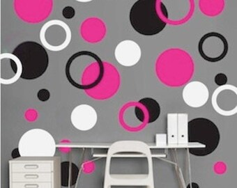Rings and Dots Vinyl Wall Art Decal Sticker - Playroom Wal Decal - Dots, Circles Rings Decal - Childrens Wall Decals - Childrens Art - d02