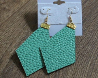 Naked Phoenix Leather Earrings - Seafoam Green