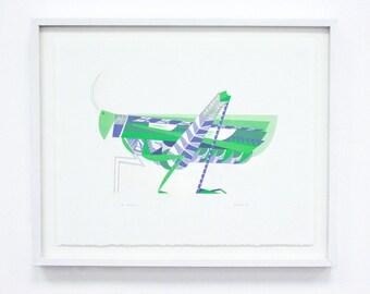 Grasshopper, Silkscreen - Large Original Screenprint, Hand printed, Limited Edition of 20 only
