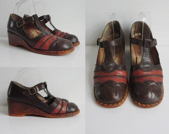 70s Vintage Leather Shoes // Fine Line Romantique // Dark/Cognac Brown Wedges // Size 39 // Made In Norway