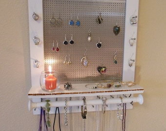 Weathered Grey Jewelry Organizer Jewelry Storage Wall